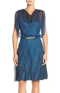 BLACK BY KOMAROV Chiffon & CharmeuseA-Line Dress available at #Nordstrom