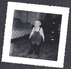 Antique Photograph Cute Little Boy Wearing Overalls & Huge Boots Retro Room