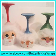 Santa Wine Glass Candle Holder Trio by ButterflyKisCreation, $20.00