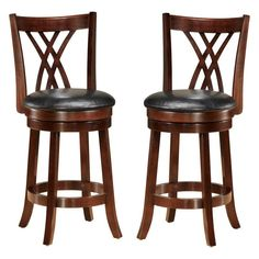 Baxton Studio Bloomfield Swivel Bar Stool - Set of 2 - BE1300C-BS-DARK BROWN-2PC