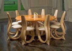 trend alert: 13 handmade cord wood plans that are worth for seeing. Unique Furniture, Wood Furniture, Furniture Design, Bespoke Furniture, Furniture Plans, Chair Design, Office Furniture, Wooden Dining Tables, Dining Room Table