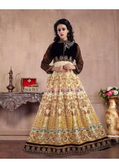 Party Wear Multicolour Pure Silk Gown - MISTHI03