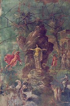 Fresco of Perseus and Andromeda from the west wall of the triclinium of the House of the Priest Amandus in Pompeii, excavated mainly in 1924. The photo was probably made soon after the excavation, the fresco is meanwhile barely recognizable. A similar fresco, probably based on the same original, is in the Imperial Villa at Boscotrecase.