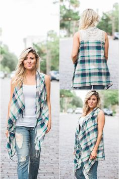 A perfect green, blue, and tan vest. It features a fringe along the front and a beautiful lace design along the upper shoulder on the back. This vest will go well with a long or short sleeve top underneath paired with dark skinny jeans and boots! fall vest, lace vest, fall outfit idea, women's fall outfit. flannel vest.
