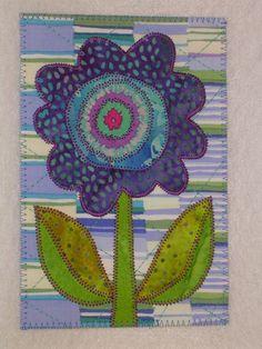 FLOWER WHIMSY Art Quilt Fabric Appliqued  4 x 6 art quilt