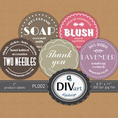 PRINTABLE Premade 2 Product Labels  PL002  Thank you by DIVart, $6.00