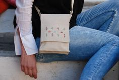 Greek tradition meets fashion...'because our history is the path that leads us to the present and the future'.  Shoulder bag embroidered with Greek traditional motif, 100% cotton