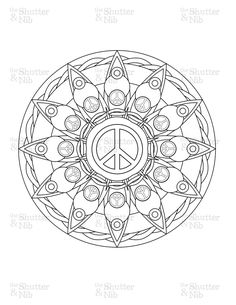 doodle coloring page ? peace sign | adult coloring, mandala ... - Peace Sign Mandala Coloring Pages