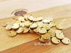 50pcs of 8mm Brass Base Charms - Tag - Round - Disc AG000155 by Argentbead on Etsy