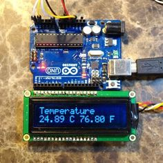Arduino thermometer project with LCD and LM35 temperature sensor.: