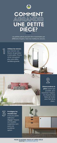 Des trucs pour agrandir une petite pièce à peu de frais #maison #decor #smallroom #décoration #décomaison Ikea Hack, Small Apartments, Art Decor, Home Decor, Tiny House, Sweet Home, Loft, How To Plan, Diy
