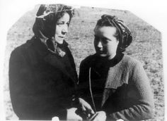 Palmnicken, Germany, 1945, A survivor and the woman who saved her, a week after the liberation. The young Jewish woman Dora Hauptmann with Mrs. Pulver.