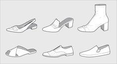 kym Shoe Sketches, Flat Sketches, Fashion Sketches, Cc Shoes, Flat Drawings, Bag Illustration, Simple Shoes, Fashion Portfolio, Technical Drawing