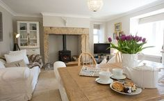 Good Totally Free Stone Fireplace with stove Thoughts Kitchen /dining / living room . White and stone pale colours , very family cosy Anna Www. Cottage Living Rooms, Cottage Interiors, My Living Room, Home And Living, Living Room Decor, Country Lounge, Inglenook Fireplace, Fireplaces, Cottage Fireplace