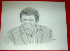 SEINFELD/COSMO KRAMER/ /PENCIL DRAWING SIGNED BY ARTIST   BW