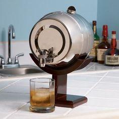 4L Chrome Keg Style Barrel Liquor Dispenser with Wooden Stand