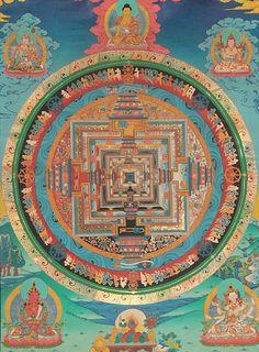 Bardo thodol a schematic describing the transitional stage in the kalachakra mandala with padmasambhava shakyamuni tsongkhapa amitayus buddha and goddess ushnishavijaya thangka tibetan thangka painting fandeluxe Images