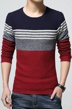 Round Neck Color Block Spliced Design Long Sleeve Knitting Sweater For Men  Men Sweater, Cardigan bcbe21ba3f8