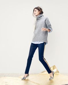 DEC '14 Style Guide: Don't worry about being the first one on the dance floor. J.Crew funnelneck sweatshirt, Collection gold stripe tuxedo pant, and Dulci calf hair kitten loafer heels.