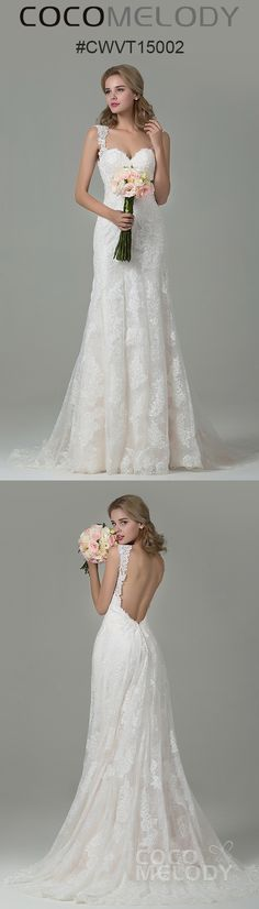 Stunning Backless Lace Wedding Dress CWVT15002 #cocomelody