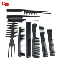 10pcs/ pro dressing plastic barbers brush combs set
