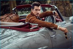 David Gandy pictured in his own vintage convertible for Telegraph magazine's supplement Goodwood.