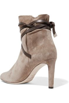 Jimmy Choo - Dalal Leather-trimmed Suede Ankle Boots - Beige 1f98b240e9c
