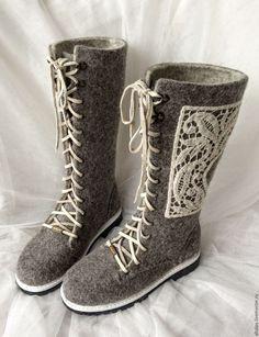 """Купить Валенки-сапожки серые """"Кружевные"""" - серый, валенки, ботинки, валенки-ботинки, валенки на подошве"""