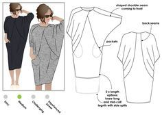 Hedy Designer Dress Arcstyle $18 - 148cm width x 2m (knee) or 2.5m (mid-calf) Knit Jersey, Stretch Silk or any fabric with a stretch component and drape