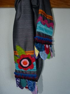 Holiday Black Skinny Scarf - my own design with inspiration from a Jennifer Jangles blog. 12/2013