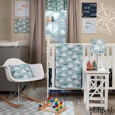 Set sail with the mod and whimsical Little Sailboat from Glenna Jean Designs. Soft, 100% cotton set with sailboats and anchors in the soothing palette that makes you think of beaches and waves. 3-piece set (includes fitted sheet, quilt, and crib skirt) priced at $230.77.  http://www.pishposhbaby.com/glenna-jean-little-sailboat-3pc-set.html