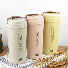 500ML Student Lovers Portable Water Tea Coffee Juice Mug Cup Office Home Cup Natural Straw Plastic Biodegradable Material