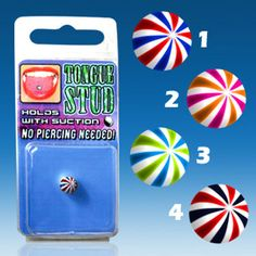 Fake & Cheater Body Jewellery Tongue Piercing Fake Beach Ball Shock Without Hole Beachball Color Selection Piercings, Barbie Doll Accessories, Beach Ball, Barbie Dolls, Illusions, Spiral, The Selection, Hold On, Colors