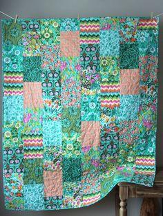 Modern Lap Quilt Violette Quilt Modern Throw by GoBeWonderful