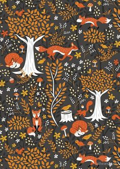 'Foxes Running in a Forest of Fall Trees' by latheandquill