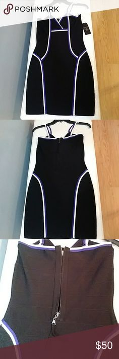 Guess Bodycon dress Black mini bodycon with blue and white trim Adjustable straps Zipper and hook and eye back closure Guess Dresses Mini