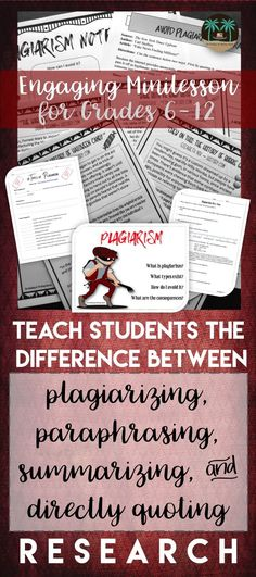 Teach students the basics of plagiarizing, summarizing, paraphrasing, and directly quoting research with this concise, engaging lesson from The Reading and Writing Haven. Perfect for any research or writing unit in middle or high school classrooms. Library Lessons, Writing Lessons, Teaching Writing, Student Teaching, Teaching Tips, Essay Writing, Math Lessons, Teaching English, Writing Papers