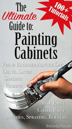 More than 100 different tutorials on how to paint your cabinets.  Sorted by paint type, sanding, priming, and more!  The BEST collection of painting tutorials available today. #TheKimSixFix
