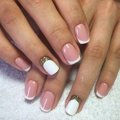 Beautiful wedding nails, Classic french manicure, Delicate wedding nails, Evening nails, ring finger nails, Square nails, Two color nails, Wedding French manicure