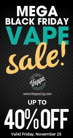 Our Black Friday sale starts NOW! Stock up for the end of the year and take up to 40% off on the full range of Veppo products including Vaporizers, E-Cigars, E-Liquids, Accessories and More!