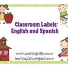 FREE Classroom Labels-English and Spanish