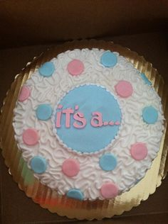 Gender reveal cake- Of course NO PINK.. would be purple or red..