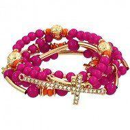 Amazon.com: Designer Inspired Gold & Pink Beaded Cross Bracelet / Multi-row / Rhinestones / Gold Plated / Elastic: Jewelry