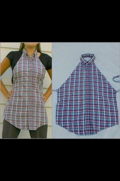 Cute apron from men's shirt (photo only).  I will have to get Brenda to make this for me using one of Grandpa VFP's shirts.