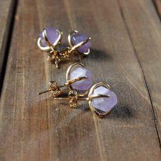 Orecchini di Ametista oro Prong / borchie ametista delicati del forcone Post orecchini / viola ametista naturale pietra sfaccettata 24k (GSS10-AM)