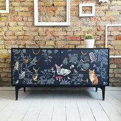 Upcycled vintage retro solid wood chest of drawers decoupage woodland print