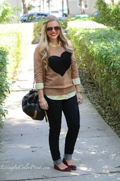 4 Ways to Wear Graphic Sweaters, J Crew Heart Sweater, Levi Jeans, Nine West black and cognac shoulder bag, MIA burgundy flats, yellow gingh...