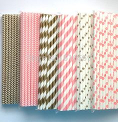 Free Shipping 300pcs/lot Pink and Gold Paper Straws Mixed 04,Paper Drinking Straws For Wedding Party Birthday Decoration