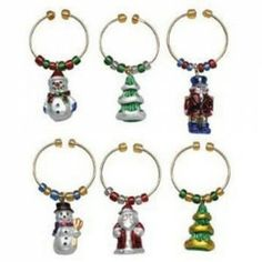 Take a trip down memory lane with these vintage inspired Christmas ornament charms for your wine glass. The 6 piece hand painted set also make a great gift!