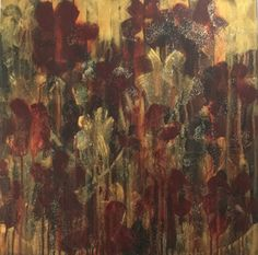 Tegan - Abstract, Flower, Original, Painting, Gold, Red, Romantic, Beautiful, Decorative, Glitter, Acrylic, Contemporary, Drip, Floral, Art